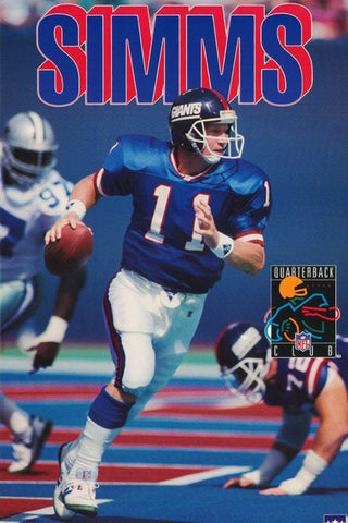 Phil Simms New York Giants 1993 Rare Vintage Poster