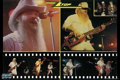 ZZ Top Collage  Rare Vintage Poster