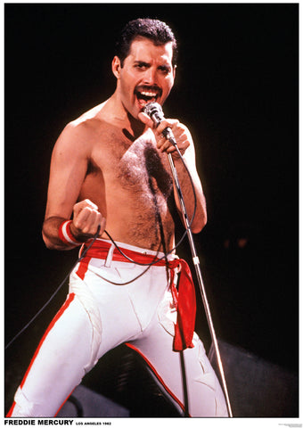 Queen Freddie Mercury Band Los Angeles 1982 Rare Poster