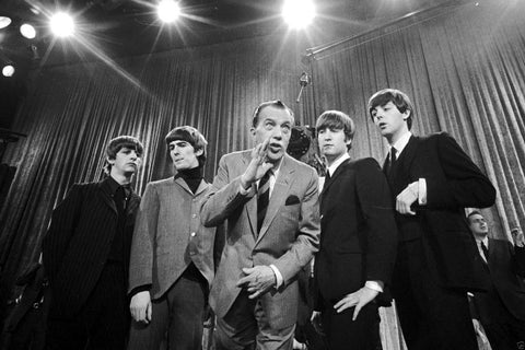 The Beatles and Ed Sullivan Whispering 8x10 Photograph