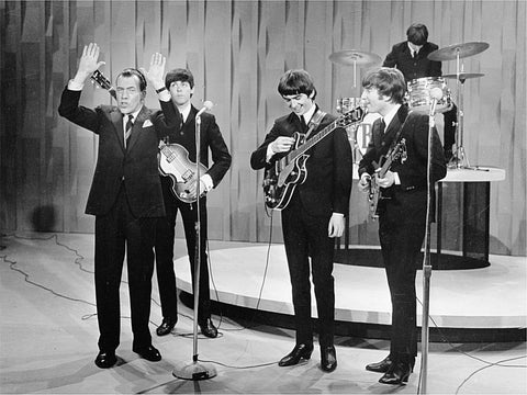 The Beatles and Ed Sullivan Hush The Crowd 8x10 Photograph