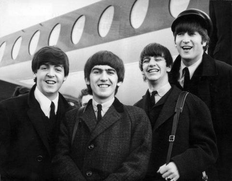 The Beatles In Front Of Airplane  8x10 Photograph