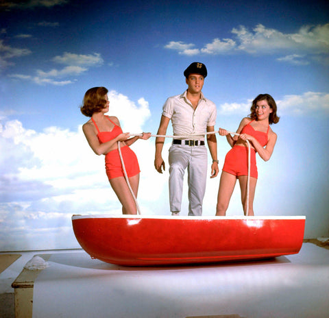 Elvis Presley With 2 Girls on Boat 8x10 Photograph