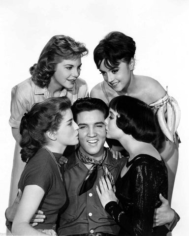 Elvis Presley With Girls B/W 8x10 Photograph