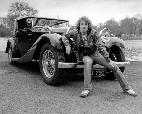 Andy Gibb Antique Car B/W 8x10 Photograph