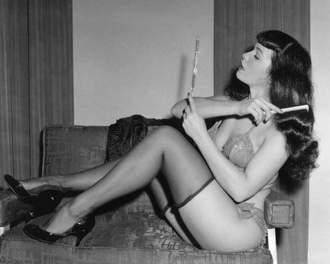 Bettie Page Brushing Hair B/W 8x10 Photograph