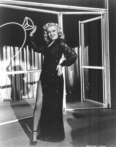 Marilyn Monroe Black Sequin Dress With Slit 8x10 Photograph