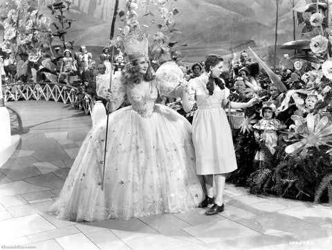 Wizard Of Oz Dorothy and Glinda The Good Witch Of The North B/W 8x10 Photograph