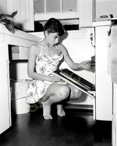 Audrey Hepburn Cooking B/W  8x10 Photograph