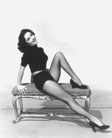 Elizabeth Taylor Black Body Suit And Fishnet Stockings 8x10 Photograph