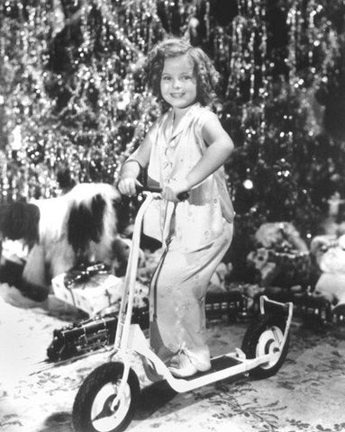 Shirley Temple Scooter At Christmas  8x10 Photograph