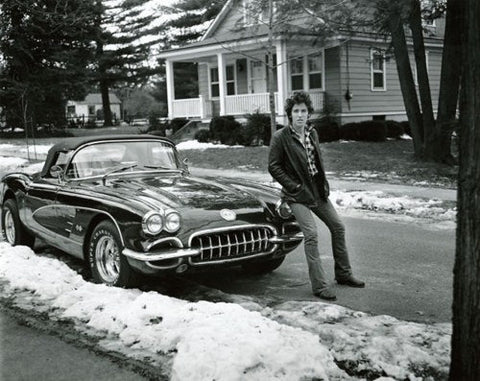 Bruce Springsteen Young With Sports Car 8x10 Photograph