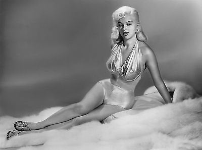 Diana Dors Gold Swimsuit Fur Rug B/W 8x10 Photograph