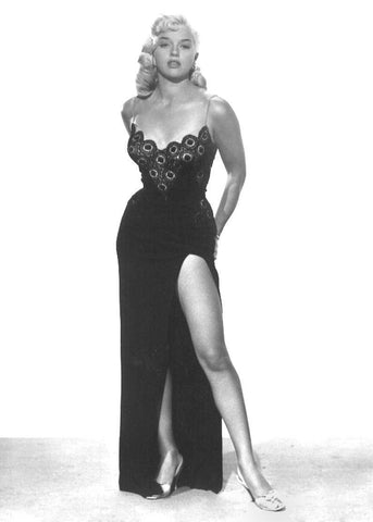 Diana Dors  Black Lace and Satin Dress  B/W 8x10 Photograph