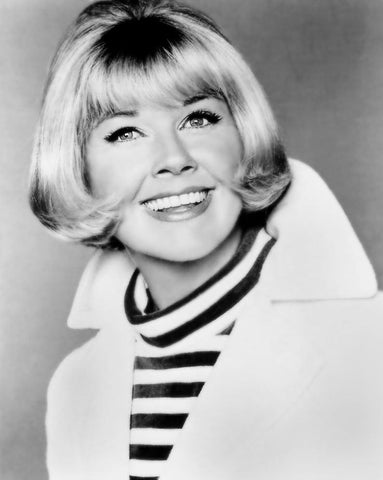 Doris Day Striped Turtleneck and Jacket B/W 8x10 Photograph