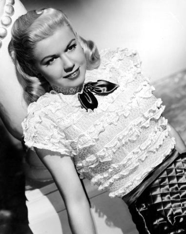 Doris Day White Ruffled Blouse B/W 8x10 Photograph
