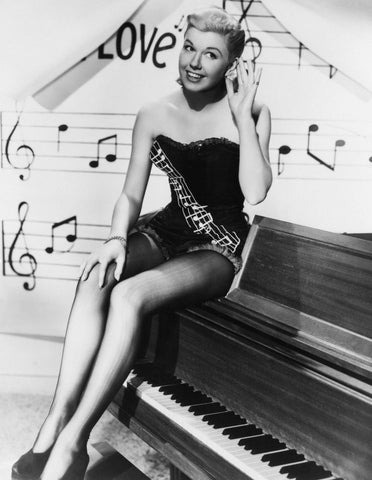 Doris Day On Piano B/W 8x10 Photograph