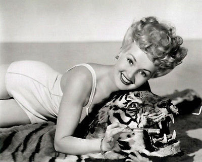 Betty Grable Tiger Rug  B/W 8x10 Photograph