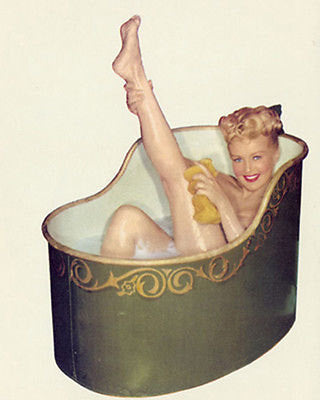 Betty Grable Bath Tub  Color 8x10 Photograph