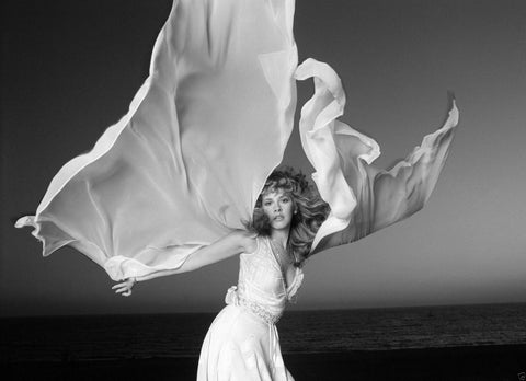 Stevie Nicks Fleetwood Mac White Dress B/W 8x10 Photograph