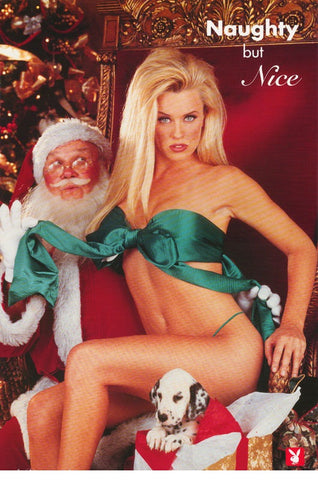 Jenny McCarthy Naughty But Nice With Santa Clause 1995 Color  Rare Poster