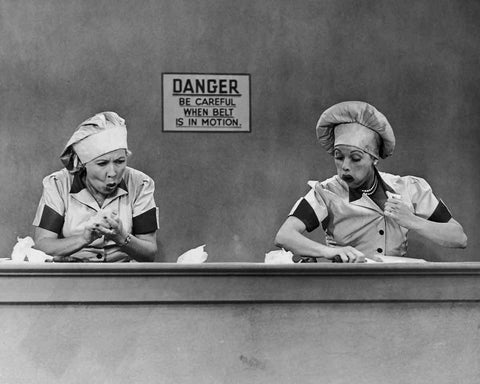 I Love Lucy Lucille Ball Vivian Vance Chocolate Factory  B/W 8x10 Photograph
