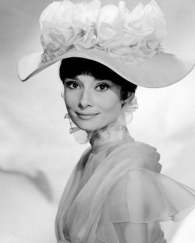 Audrey Hepburn White Sheer Dress and Hat B/W 8x10 Photograph