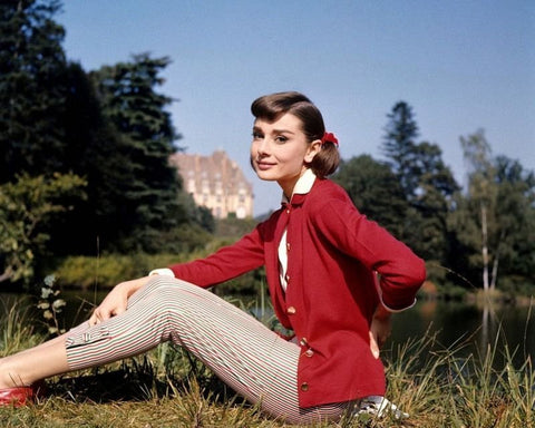 Audrey Hepburn Red Sweater Color 8x10 Photograph