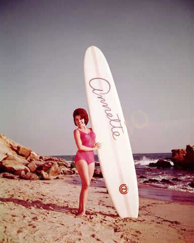 Annette Funicello With Surfboard Color 8x10 Photograph