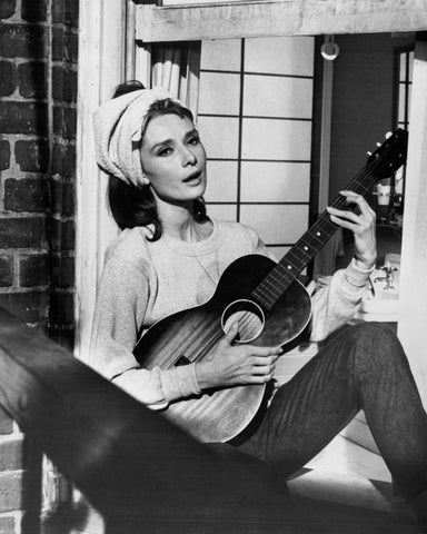 Audrey Hepburn With Guitar B/W 8x10 Photograph