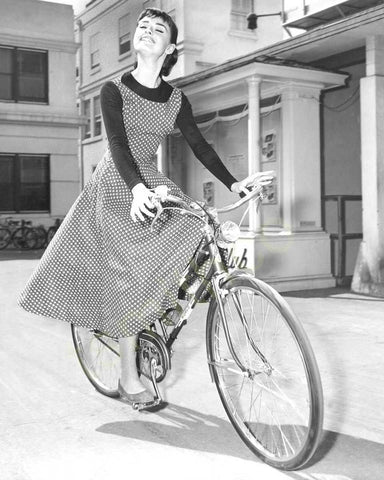 Audrey Hepburn Riding Bike B/W 8x10 Photograph