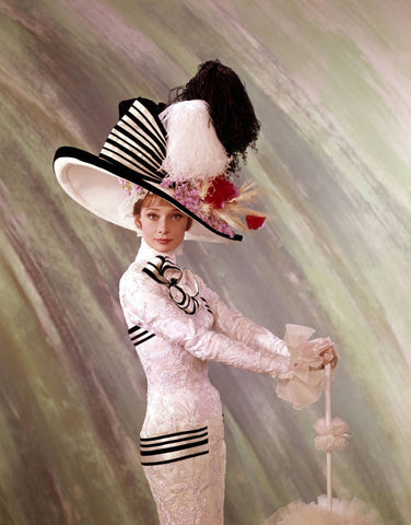 Audrey Hepburn White Dress Holding Umbrella Color 8x10 Photograph
