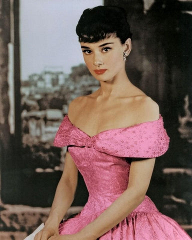 Audrey Hepburn Pink Dress Color 8x10 Photograph