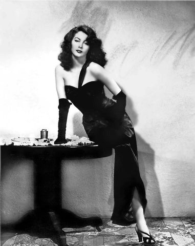 Ava Gardner Black Dress  Leaning on Table B/W 8x10 Photograph