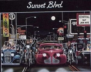 David Mann Easyriders Sunset Blvd. Motorcycles Rare Vintage Poster