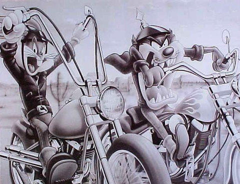 Looney Tunes Bugs Bunny and  Taz On Motorcycles Rare Vintage Poster