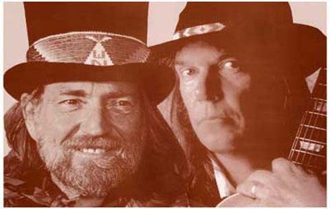 Willie Nelson and Neil Young Sepia  Rare Poster