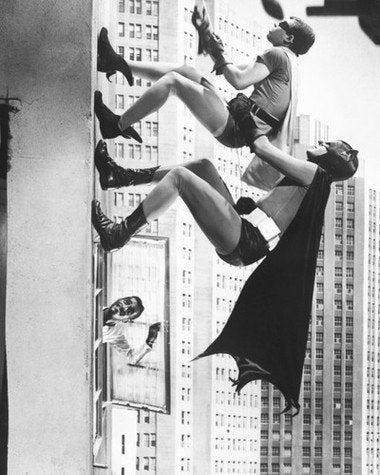 Batman and Robin Adam West Burt Ward Climbing Wall 8x10 Photograph