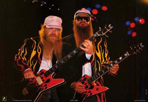 ZZ Top Billy Gibbons and Dusty Hill 1986 Rare Poster
