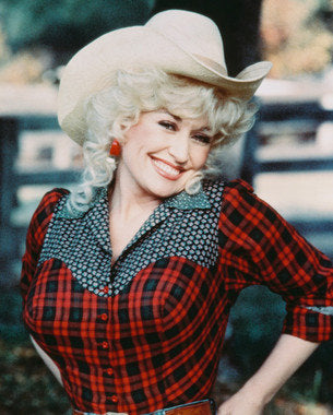 Dolly Parton Plaid Shirt and Western Hat 8x10 Photograph