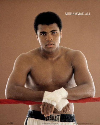 Muhammad Ali Leaning on Ropes In Boxing Ring  Rare Poster