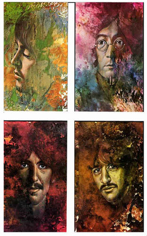 Set of 4 Beatles Let It Be Psychedelic Posters