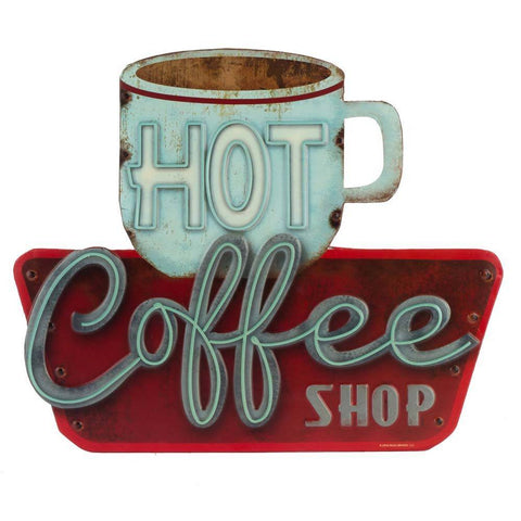 Hot Coffee Shop Mirror Sign