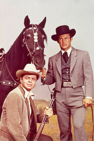 Wild Wild West Robert Conrad and Ross Martin With Horse 8x10 Photograph