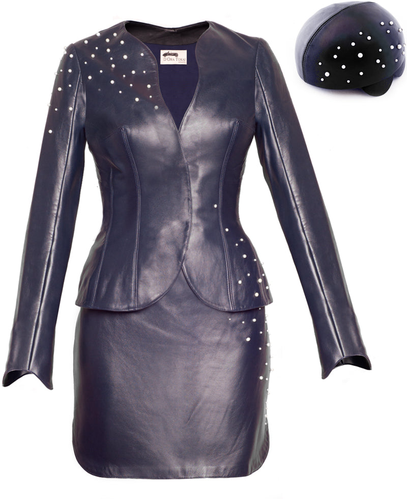 Stissa leather skirt, jacket and hat