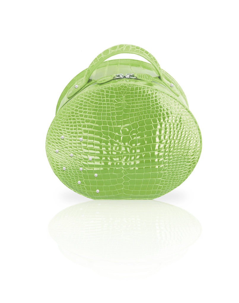 Green crocodile handbag with pearls