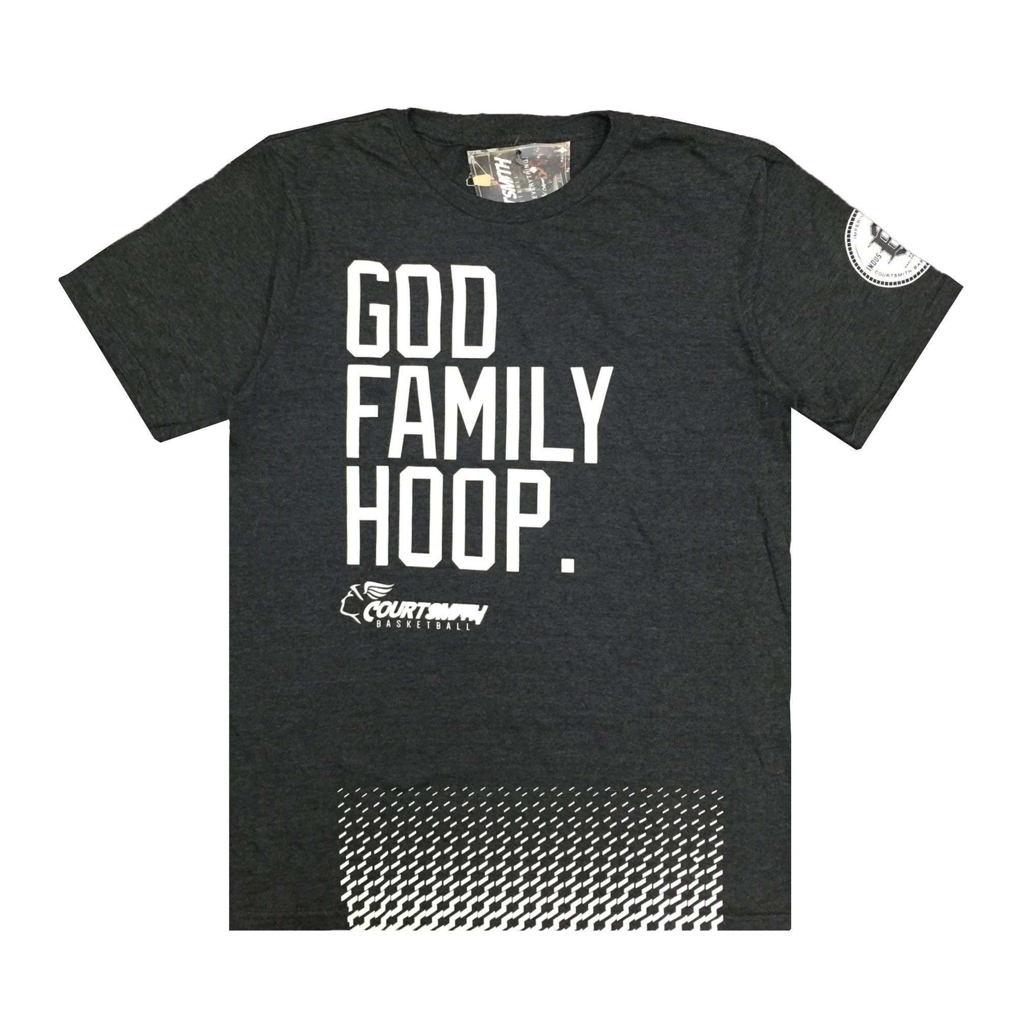 Hoop Family Youth Courtsmith God Basketball Charcoal T-shirts