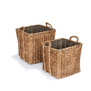 SQUARE WOODBLOCK BASKET SET OF 2