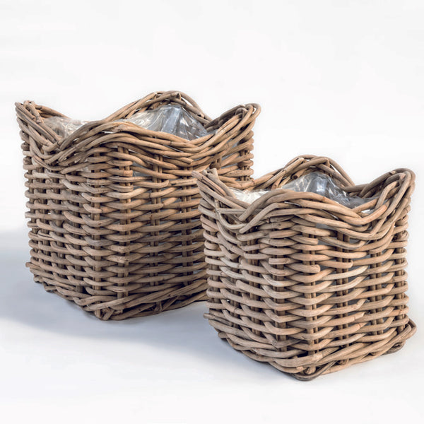 SQUARE POT BASKET NICOLAS SET OF 2