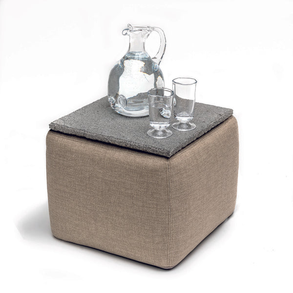 SQUARE POUF / SIDETABLE INCL. STONE TOP